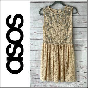 Asos Lace Skater Dress With Embellishments Size 8